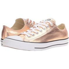 Converse Chuck Taylor All Star Metallic Canvas Ox (Metallic Sunset... ($60) ❤ liked on Polyvore featuring shoes, sneakers, black and white trainer, lace up sneakers, metallic shoes, canvas lace up shoes and canvas lace up sneakers