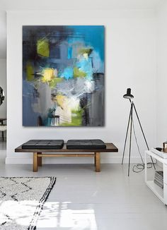 Abstract painting in hall with modern interior. By Rikke Laursen