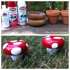 Clay Pot Toadstools using wooden salad bowl for mushroom top