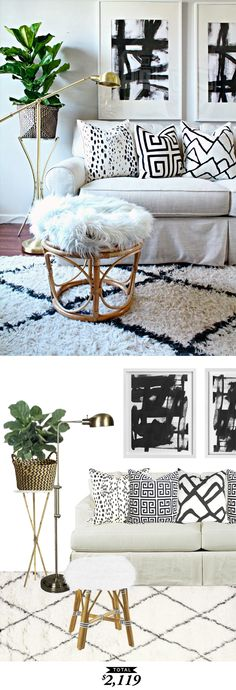 Recreate this black and white, cozy living room from @burlapandlace for only $2,119 by @audreycdyer for Copy Cat Chic