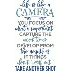 Silhouette Design Store - View Design #86292: life is like a camera phrase