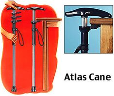 Self-Standing Atlas Cane. Patented mechanism allows it to stand under standard height tables, desks, or the arm of most chairs. Eliminates the chance of the cane falling. Pinned by pttoolkit.com your source for geriatric physical therapy resources.