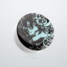 Glow in the Dark Day of the Dead Lady Single Flared Ear Gauge Plug