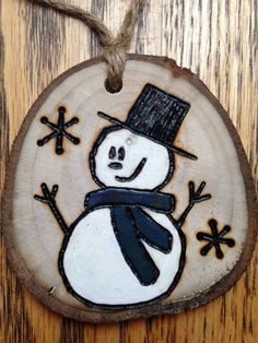 Rustic hand painted wood burned Snowman Christmas ornament - natural wood