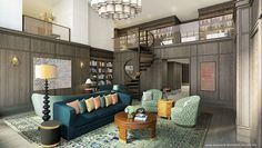Eclectic Library with Wall sconce, Hardwood floors, Built-in bookshelf, Chandelier, Loft, Wainscotting, High ceiling