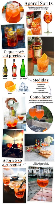 Tim-tim: drink com Aperol Spritz - Cocktails, Cocktail Drinks, Alcoholic Drinks, Aperol Drinks, Winter Drinks, Summer Drinks, Special Recipes, Bar Drinks, Beverages