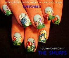 Smurfs. #nails #design #smurfs