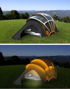 Tent with solar powered electricity socket.
