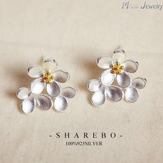 Korean Flower Stud Earrings 925 Sterling Silver Earrings women Brincos  #rings #bracelets #bridal #earrings #jewellery