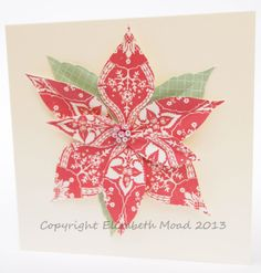 Patterned paper used for a poinsettia www.elizabethmoad.com