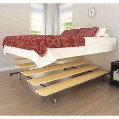 Wonderful Bedroom Furniture Decor With Comfortable Platform Bed Frame Ideas: Unique Bedroom Furniture Bedding Design With Wonderful Platform Bed Frame Queen Size With Iron Wheels Standing On Wood Vinyl Flooring For Elegant Bedroom Decor