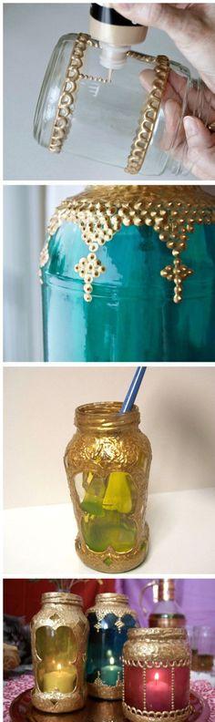 萨瓦迪卡!手工DIY瓶子,瞬间变美丽哦~金色顏料是丙烯颜料,文具店、书店或者卖画画颜料的地方都有卖的哦~