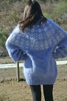 Hand Knitted Icelandic Light Blue w/ White T-Neck Mohair Sweater, Large