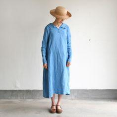 arts & science - indigo dress, linen