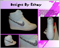www.eshays.com - Clear Bling Rhinestone TIck Nike Swoosh - Women White Nike Dunk Sky High Sneaker Wedges