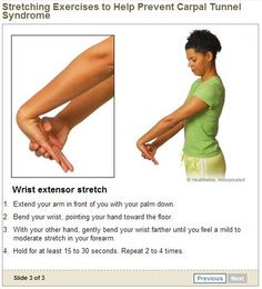 If you experience Carpal Tunnel symptoms and discomfort - these exercises may work very well for you. Learn more about carpal tunnel relief exercises here. Carpal Tunnel Relief, Carpal Tunnel Syndrome, Carpal Tunnel Exercises, Stretching Exercises, Fit Board Workouts, At Home Workouts, Workout Board, Tennis Elbow Exercises, Elbow Stretches