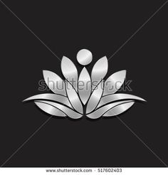 Luxury Silver Lotus Logo Plant. Vector Illustration