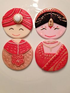 Indian bride & groom cupcake toppers Indian Bride And Groom, Bride Groom, Cake Decorating For Beginners, Decorating Ideas, Indian Dress Up, Marriage Decoration, Ding Dong, Wedding Cookies, Photo Booth Props