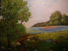 Original Painting Texas Bluebonnets, Texas Hill Country 12x16 Original, Texas…