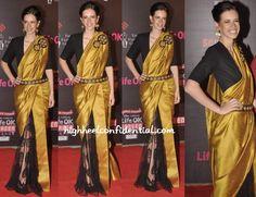 love the blouse and sari style.... Kalki Koechlin In Nikhil Thampi - High Heel Confidential
