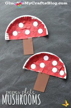 Paper Plate Mushrooms - Kid Craft Idea For Spring! Paper Plate Mushrooms - Kid Craft// Herbst basteln mit Kindern #Fliegenpilz #basteln #kindergarten<br> Paper Plate Mushrooms Kid Craft Tutorial - Perfect for your spring time celebrations and of course, children of ALL ages! Bee Crafts For Kids, Paper Plate Crafts For Kids, Frog Crafts, Winter Crafts For Kids, Toddler Crafts, Spring Crafts, Preschool Crafts, Easter Crafts, Art For Kids