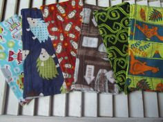 "Set of 6 8"" Children's Cloth Napkins Boys Mixed Print Lunchbox/Luncheon Napkins Set 7"