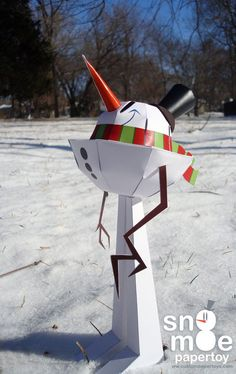 """Sno Mo"" snowman papercraft, free template at the link"