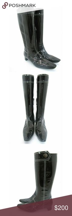 """TOD'S Patent Leather Knee-High Boots Sz 38 Black patent leather exterior. Knee-high boot with white stitching accents. Mid-calf zipper closure.   Logo-embossed black patent zipper pull. White grooved rubber arch. Brushed metal button with engraved """"T"""". Black rubber soles. Made in Italy.  Measurements: Size: 38/ 8 Heel-to-Toe: 10.5"""" (Measured Outside) Heel: 1.25"""" Height: 15"""" Leg Opening: 14.75"""" Excellent condition, like new. Tod's Shoes Heeled Boots"""
