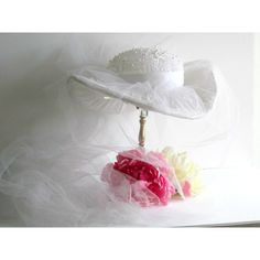 Bridal hat, vintage 1960 1970 cowboy type bridal hat, wedding,... ($95) ❤ liked on Polyvore featuring accessories and hats