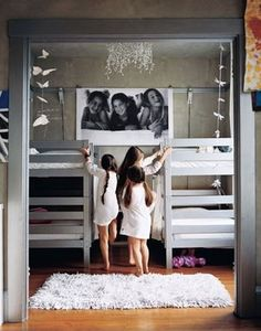 bunk beds - kept simple with white bedding and grey wood. fun pic of the kids in black and white. For when we start to run out of room before we add on!!