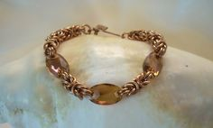 Copper Byzantine and Swarovski Crystal Bracelet as by 925maille, $70.00