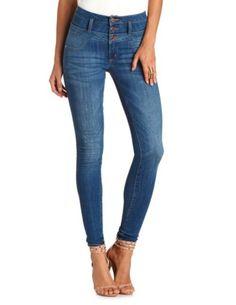 """Refuge """"Hi-Waist Super Skinny"""" Medium Wash Jeans: Charlotte Russe"""