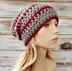 Mano de ganchillo sombrero sombrero de mujer - Memphis Slouchy gorro en  gris marengo - invierno b98e1608242