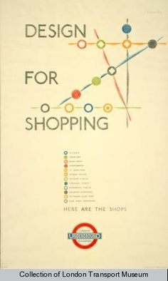 Design for shopping, by O'Keeffe, 1935      Published by London Transport, 1935     Printed by Waterlow & Sons Ltd,     Format: Double royal     Dimensions: Width: 635mm, Height: 1016mm     Reference number: 1983/4/4303