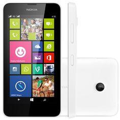 """Smartphone Nokia Lumia 630 Dual, 3G TV Digital Windows Phone 8.1 8GB Quad Core 1.2GHz Câmera 5MP Tela 4,5"""", Branco"""