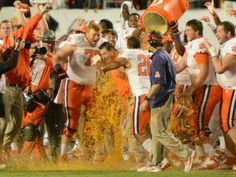 Clemson coach Dabo Swinney gets the traditional Gatorade shower after defeating Ohio State.