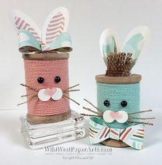 Bakers Twine Bunnies at WildWestPaperArts.com featuring my Wild West Pick of the Week.... Crisp Cantaloupe Thick Baker's Twine Did you enter the challenge for the free tutorial? #easter #bunny #bakerstwine
