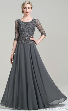 Make an elegant entrance in this chiffon lace mother of the bride/groom dress…