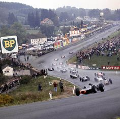 The famous Eau Rouge corner at Spa 1965. Safety wasn't a priority back in the day.