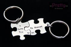 Valentines Day Gift for Boyfriend/Girlfriend-Personalized Hand Stamped Keychain Set-I Love You To Pieces Puzzle Set by PrettyByPriscilla on Etsy