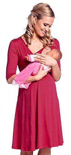 87c62461b2c6a Happy Mama Womens Maternity Nursing 2in1 Skater Dress 34 Sleeve Pockets  784p Raspberry US 8 XL ** Click on the image for additional details.