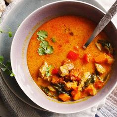 Warming spicy pumpkin and chorizo soup with pork. East, fast and delicious! (in English and Polish)