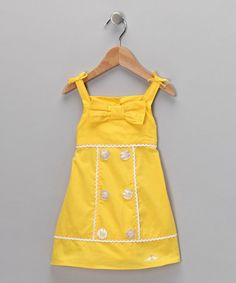 Take a look at this Yellow Button & Bow Dress - Infant & Toddler by Lilybird on #zulily today!
