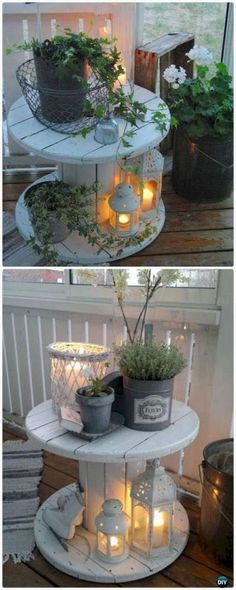 DIY Wire Spool Table Porch Lights Decor - Wood Wire Cable Spool Recycle Ideas DIY Recycled Wood Cable Spool Furniture Ideas, Projects & Instructions: Ways to Recycle Cable Spool, Wire Spool, Wood Spool, Cable Drum Wire Spool Tables, Cable Spool Tables, Cable Spools, Table En Bois Diy, Diy Table, Patio Table, Garden Table, Dining Table, Teak Table
