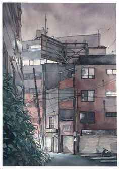 Something I wanted to try with watercolors for some time now - a night scene. Tokyo is a strange place - there are a lot of empty but brightly lit streets at night and the sky is never perfectly black because of the city lights. Especially the clouds...