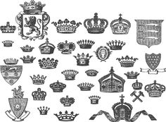 30の王冠やミトラを収録したベクターのセットです。 Heart Stencil, Retro Vintage, Stencils, Cricut, Drawings, Design, Create A Critter, Sketches, Draw
