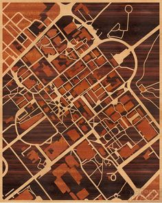 16x20 Woodcut Map of College Station, Texas