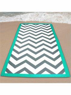 Gray Chevron Beach Towel with Aqua Trim. It would be cute with an aqua monogram Chevron Bags, Grey Chevron, Gray, Beach Towel, Beach Mat, Beach Weather, Beach Accessories, Spring Break, Nautical