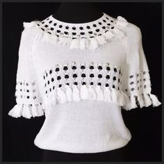 """White Fringe Beaded Sweater Medium Large White Fringe Sweater ‼️ PRICE FIRM UNLESS BUNDLED WITH OTHER ITEMS ‼️ Size Medium/Large  Really cute lightweight white sweater. perfect for year round wear!  It is marked M/L.  Please check the size range below. 100% cotton. Please check my closet for many more listings.   Armpit to armpit 36""""-44""""""""  length of garment 18"""" Endless Rose Sweaters"""