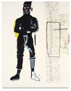 jean-michel basquiat MP, 1984 [acrylic and xerox collage on canvas; 857/8 x 68 inches]